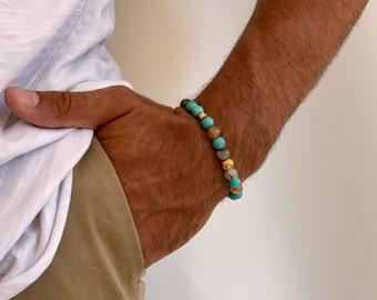 Agate Bracelet Men, Gift for Him, Men's Bracelet, Agate Beads Bracelet, Boyfriend's Gift, Made in Greece by Christina Christi Jewels.