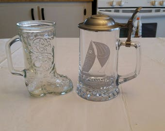 vintage old spice nautical clear etched glass germany stein tankard w/ hinged metal lid america cup & cowboy western boot embossed etchings