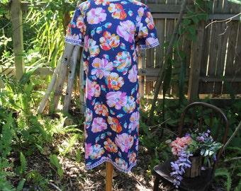 70's Navy Blue Hawaiian Style Dress -L