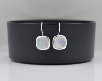 Rainbow Moonstone Earring, Silver Moonstone Earrings, Drop Moonstone Earring, Square Moonstone Earring, Silver Moonstone Square Earrings