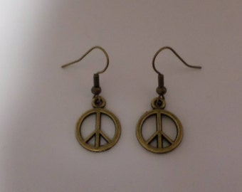 Peace earrings antique bronze