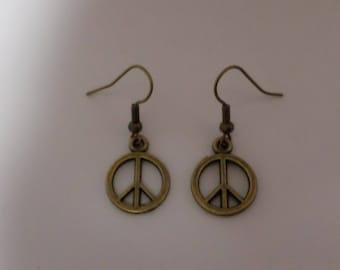 Peace earrings antique bronze
