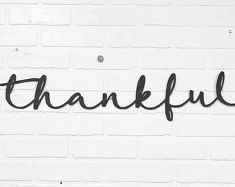 Thankful Script | Metal Wall Decor | Gift for Mom