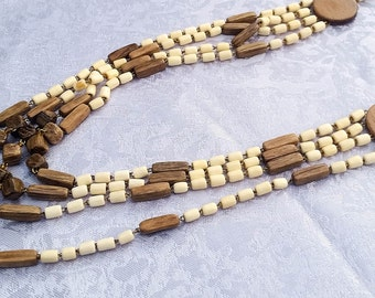 Long Wood Necklace, Multi Strand Necklace, Wooden Necklace, Anniversary Gift, 5th Anniversary Gift