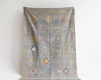 "Moroccan Sabra Cactus Silk 5-0 x 7-9 Kilim Rug, ""Carnival"", Multi-Color Rug, Moroccan Rug, Boho Rug, Bohemian, Home Decor, Textiles"