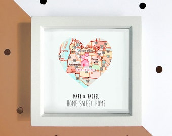 Personalised new home print - map housewarming gift - personalised moving gift - new home gift - new home card - first home gift