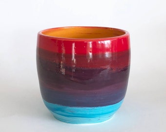 Hamdmade Wheel Thrown Rainbow Orchid Pot with Three Holes