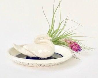 Handmade White Swan Swimming in Blue Water Ceramic Jewelry Dish