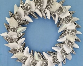 Silver and White Ribbon Wreath