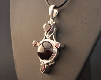 Garnet And Sterling Silver Pendant