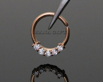 Rose Gold Five Prong Crystal Set Septum Piercing, Bendable CZ Septum Piercing Ring, Rose Gold Nose Hoop Ring, Rose Gold Nose Ring, H 504RG