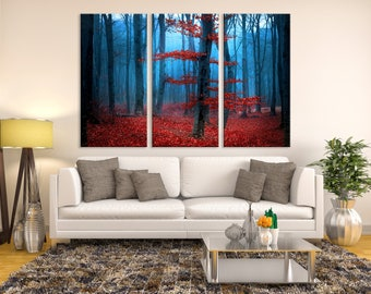 Large 3 Panels Wall Art Nature Canvas Print, Breathless Foggy Autumn Forest with Red Leaves, Tranquil Autumn Forest Canvas Print, Home Decor