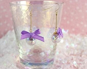 Fairy Kei Dreamy Bubble Drop Iridescent Shimmering Hearts Orb Earrings