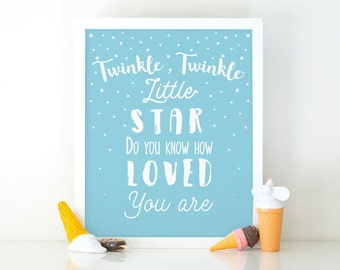 Twinkle Twinkle Little Star, Nursery Print, Printable Art, Typography print, Boys room decor, Nursery Decor, Instant Download, Digital File