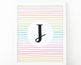 Letter J, Initial wall art, Colorful  Stripes, initial Printable, Colors, Nursery Initial Print, Instant download, initial print, printable