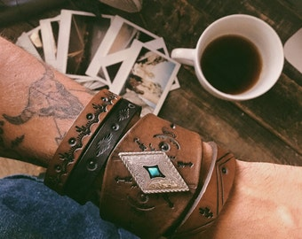 Leather Cuff for Her, Boho Bracelet, Leather Bracelet, Boho Leather Cuff, Bohemian Jewelry, Turquoise Jewelry, Handmade Native American