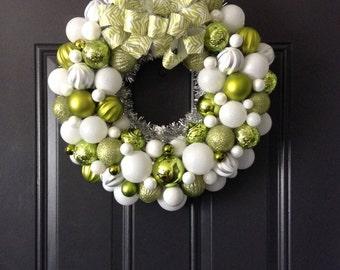 Christmas Wreath, Winter Wreath, Lime Green, White