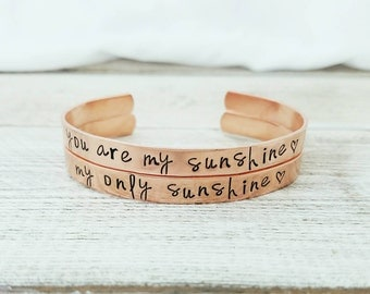 You Are my Sunshine Bracelet Set - You Are my Sunshine Jewelry - My Only Sunshine - Mother Daughter Gift - Hand Stamped Cuff Bracelet Set