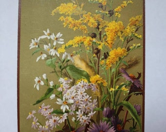 Antique Victorian Card Large Flower - New Years Greeting ETF