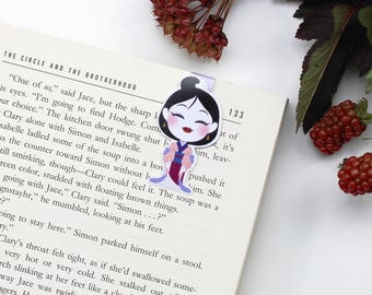 hua Mulan - Magnetic bookmark || gift for book lovers, geisha, anime, bookish, bookworm, geisha disney, page clips, magnetic bookmarks