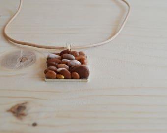Beach pebble square pendant necklace