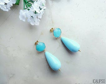 Turquoise earrings, turquoise jewelry, gemstone jewelry, gift for wife, gems dangle earrings, gift for girlfriend, statement, mom gift
