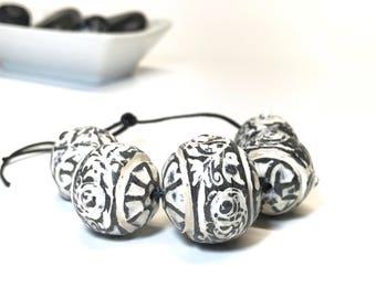 Gray And Ivory Textured Art Beads, Handmade Polymer Clay Beads, Etched Beads, Carved Beads, Gray Beads, Boho Jewelry Supplies, Washed Beads