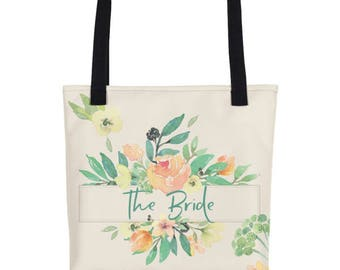 Floral Wedding Tote | Wedding Day Tote Bag | Floral Totes For Bride | Wedding Day Tote | Team Bride |  Bride To Be Tote | Bridal Party Totes