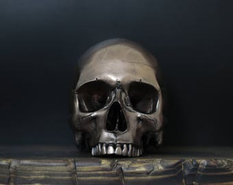Namutu - Autumn Gold Full Scale Life Size Half Jaw Realistic Faux Human Painted Skull Replica / Art / Ornament / Home Decor