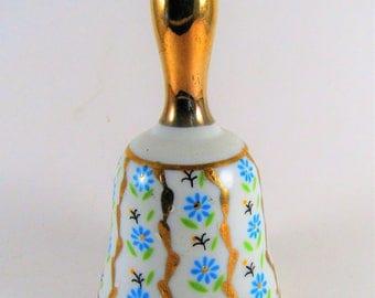 Vintage Enesco Ceramic Bell Blue Floral with Gold Trim