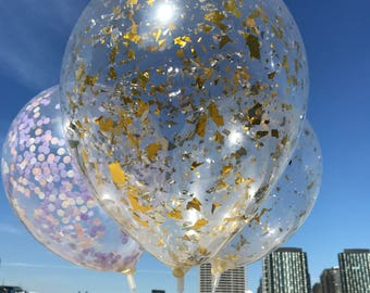 Set of 5 Confetti 28cm Balloons | Gold & Silver Confetti Balloon