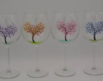 Set Of 4 Hand Painted Glasses Tree Of Love Red Wine Balloon Handpainted Glass Glassware