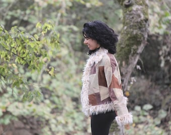 Misty Mountain Hop - Penny Lane Coat, Shearling Coat, Almost Famous Coat, Patch Coat, Faux Shearling Jacket
