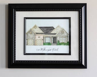 Custom Home Portrait, Architectural Watercolor and Pen & Ink Home Portrait, Home Portrait with Calligraphy Address/Family Name/Quote