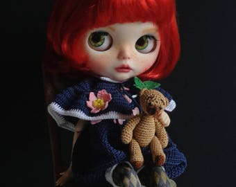 Ooak Custom Blythe Doll: Angelina and teddy peekaboo - Free shipping