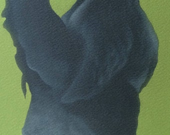 "black leghorn chicken painting ""Mary"""