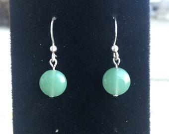 Sterling Silver Jade Dangle Earrings, Drop Earrings, Jade Earrings, Jade Jewelry
