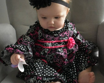 Dress with Ruffles and Bell Sleeves, Cotton Dress, Black, Pink, Free Shipping