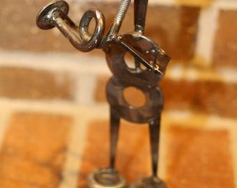 Horn Player - Industrial look metal figure