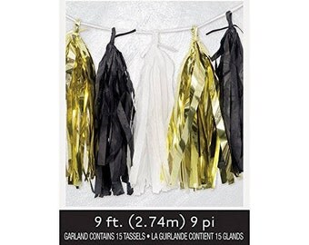 Gold, Black, And White Tissue Garland/ Classy Tissue Garland/ Black and Gold Tissue Garland