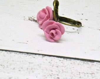 Pink earrings, Personalized jewelry, Polymer clay, Flower earrings, Nature inspired, Dangle earrings, Girlfriend gift, Romantic gift Hand