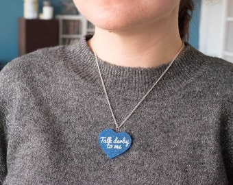 "Necklace ""Talk derby to me"" with glitter blue heart"