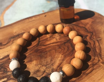 CEDAR + SPONGE CORAL essential oil bracelet: grounding, overcoming negative emotions, fear, anxiety