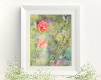 Green red wall decor Printable picture for living room 8x10 pastel wall art Digital download photo Green wall gallery, Poppy wall art Floral