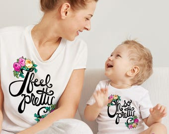 MATCHING SET- 2 Tees- I feel pretty / Oh so pretty / Mommy and me / Matching Tees / Baby / West Side Story / Kids Tee / Cute Musicals / Mom