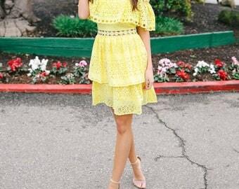 Elizabeth Lovebird Eyelet Tiered Dress