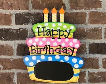 Birthday Decorations, Birthday Door Hanger, Birthday door sign, Happy Birthday sign, Birthday Chalkboard