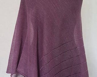 Purple poncho, linen poncho, summer poncho, knit poncho, knit cape, linen cape, purple cape, linen shawl, purple shawl, linen shawl