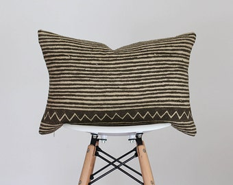13 x 19 Olive and Cream Geometric and Stripe Design Authentic African Mud Cloth Lumbar Pillow Cover