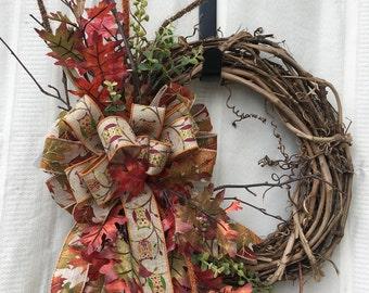 Fall Wreath, Autumn Wreath, Front Door Wreath, Fall Front Door Wreath, Autumn Front Door Wreath, Fall Decor, Autumn Decor, Home Decor